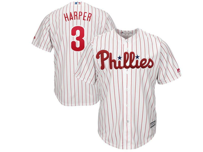 Mens Womens Youth Mlb Philadephia Phillies #3 Bryce Harper White Red Stripe Home Cool Base Jersey