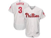 Mens Majestic Philadelphia Phillies Phillies #3 Bryce Harper White Flex Base Jersey
