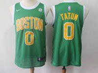 Mens 2018-19 Nba Boston Celtics #0 Jayson Tatum Green Swingman Earned Edition Jersey