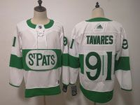 Mens Nhl Toronto Maple Leafs #91 John Tavares Adidas St. Pats Adidas Authentic White Jersey
