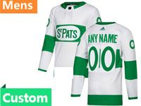 Mens Nhl Toronto Maple Leafs Custom Made Adidas St. Pats Adidas Authentic White Jersey