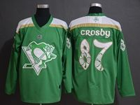 Mens Nhl Pittsburgh Penguins #87 Sidney Crosby Green 2019 St. Patrick's Day Replica Jersey