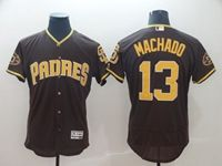 Mens Mlb Majestic San Diego Padres #13 Manny Machado Brown Flex Base Jersey
