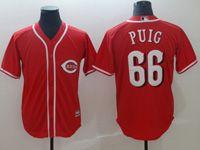 Mens Majestic Cincinnati Reds #66 Yasiel Puig Red Cool Base Player Jersey