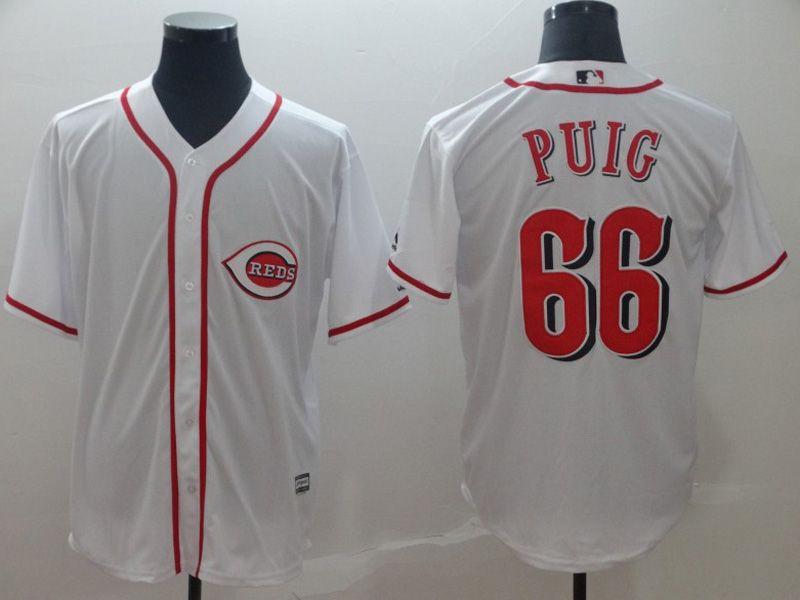 Mens Majestic Cincinnati Reds #66 Yasiel Puig White Cool Base Player Jersey