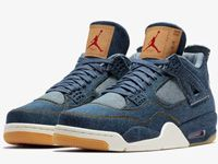 Men Nike Air Jordan 4 X Levis Aj4 Basketball Shoes Clour Blue