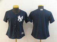 Women Mlb New York Yankees Blank Blue Cool Base Jersey