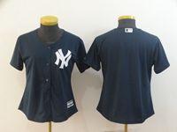 Women Mlb New York Yankees Blank Blue Cool Base Jersey