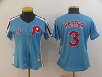 Women Youth Mlb Philadelphia Phillies #3 Bryce Harper Light Blue Cool Base Cooperstown Jersey