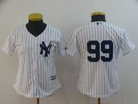 Women Mlb New York Yankees #99 Aaron Judge White (no Name) Black Stripe Cool Base Jersey