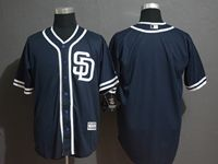 Mens Majestic San Diego Padres Blank Navy Cool Base Player Jersey  ( Sd )