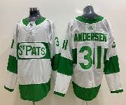 Mens Nhl Toronto Maple Leafs #31 Frederik Andersen Adidas St. Pats Adidas Authentic White Jersey