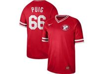 Mens Mlb Cincinnati Reds #66 Yasiel Puig Red Cooperstown Collection Legend V Neck Cool Base Nike Jersey