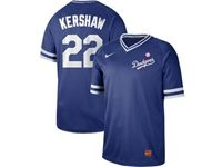 Mens Mlb Los Angeles Dodgers #22 Clayton Kershaw Blue Cooperstown Collection Legend V Neck Cool Base Nike Jersey