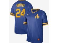 Mens Mlb Seattle Mariners #24 Ken Griffey Jr Blue Cooperstown Collection Legend V Neck Cool Base Nike Jersey