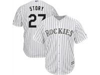 Mens Mlb Colorado Rockies #27 Trevor Story White Stripe Cool Base Jersey