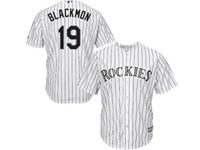Mens Mlb Colorado Rockies #19 Charlie Blackmon White Stripe Cool Base Jersey