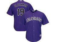 Mens Mlb Colorado Rockies #19 Charlie Blackmon Purple Cool Base Jersey