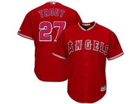 Mens Mlb Los Angeles Angels #27 Mike Trout Red Cool Base Jersey