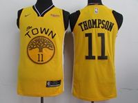 Mens Nba Golden State Warriors #11 Klay Thompson Yellow 2018-19 Swingman Earned Edition Jersey
