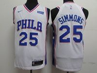 Mens 2019 New Nba Philadelphia 76ers #25 Ben Simmons White Nike Jersey