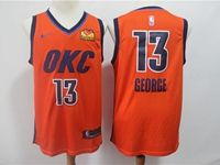 Mens 2019 Nba Oklahoma City Thunder #13 Paul George Orange Nike Earned Edition Loves Logo Jersey