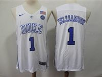 Mens Ncaa Nba Duke Blue Devils #1 Williamson White Nike Jersey