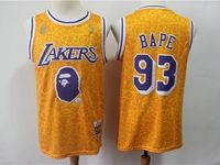 Mens Nba Los Angeles Lakers Bathing Ape #93 Bape Yellow Printing Mitchell&ness Jersey