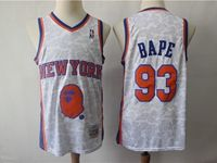 Mens Nba New York Knicks Bathing Ape #93 Bape White Printing Mitchell≠ss Jersey