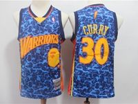 New Mens Nba Golden State Warriors #30 Stephen Curry Blue Printing Hardwood Classics Mitchell≠ss Jersey