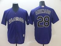 Mens Mlb Colorado Rockies #28 Nolan Arenado Purple Cool Base Jersey