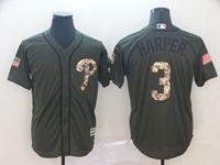 Mens Mlb Philadephia Phillies #3 Bryce Harper General Green Cool Base Jersey