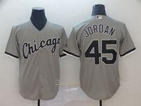 Mens Mlb Chicago White Sox #45 Michael Jordan Gray Cool Base Jersey