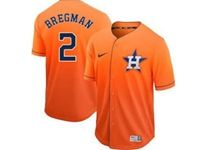 Mens Mlb Houston Astros #2 Alex Bregman Orange Cool Base Nike Fade Jersey