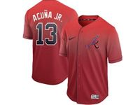 Mens Mlb Atlanta Braves #13 Acuna Jr Red Cool Base Nike Fade Jersey