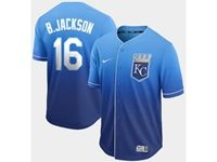 Mens Mlb Kansas City Royals #16 B.jackson Blue Nike Drift Cool Base Jersey