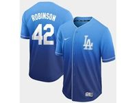 Mens Mlb Los Angeles Dodgers #42 Ackie Robinson Blue Cool Base Nike Fade Jersey