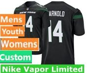2019 Mens Women Youth Nfl New York Jets Black Nike Vapor Limited Custom Made Jersey