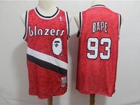 Mens Nba Portland Trail Blazers Bathing Ape #93 Bape Red Printing Mitchell≠ss Jersey
