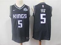 Mens Nba Sacramento Kings #5 De'aaron Fox Black Swingman Nike Jersey