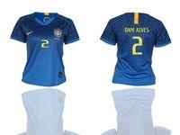 Women 2019-20 Soccer Brazil National Team (current Player) Blue Away Short Sleeve Jerseys