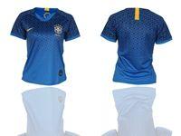Women 2019-20 Soccer Brazil National Team ( Custom Made ) Blue Away Short Sleeve Jersey