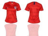 Women 19-20 Soccer Usa National Team ( Custom Made ) Red Away Short Sleeve Jersey