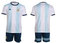Mens 19-20 Soccer Argentina National Team ( Custom Made ) White Home Short Sleeve Suit Jersey