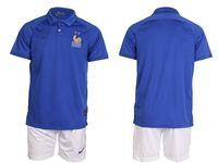 Mens 19-20 Soccer France National Team (custom Made) Blue Home Short Sleeve Suit Jersey