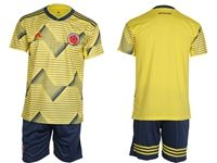 Mens 19-20 Colombia National Team ( Custom Made ) Yellow Home Short Sleeve Suit Jersey