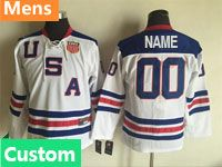 Mens Nhl Team Usa Custom Made White Throwbacks Ccm Jersey