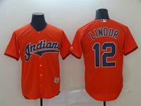Mens Mlb Cleveland Indians #12 Francisco Lindor Orange Cooperstown Collection Legend V Neck Cool Base Nike Jersey