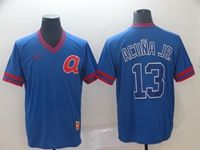 Mens Mlb Atlanta Braves #13 Acuna Jr Blue Cooperstown Collection Legend V Neck Cool Base Nike Jersey