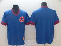 Mens Mlb Atlanta Braves Blank Blue Cooperstown Collection Legend V Neck Cool Base Nike Jersey